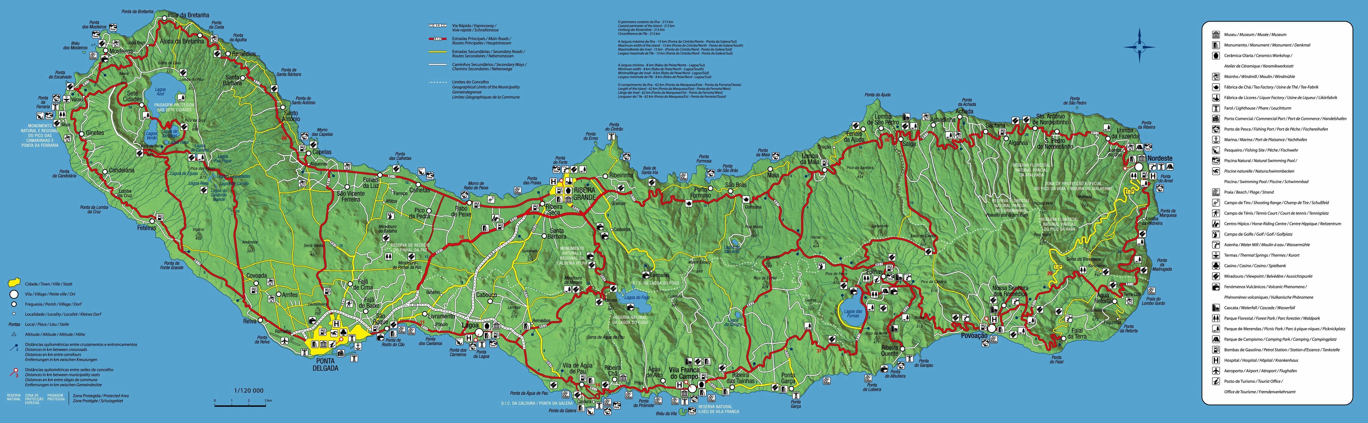 Sao Miguel Turistická mapa