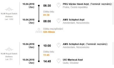 Letenka Praha Quito